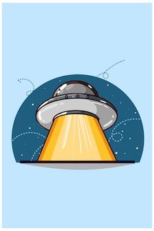 Handzeichnung der ufo-illustration