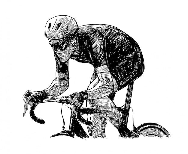 Handzeichnung des fahrradwettbewerbs zeigen fahrer isolieren