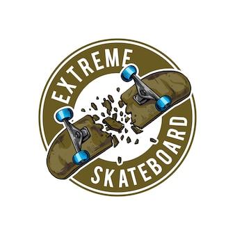 Handzeichnung des gebrochenen skateboards für abzeichen