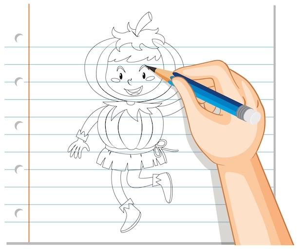Handzeichnung des kindes, das kürbiskostümumriss trägt