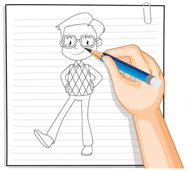 Handzeichnung des nerdigen jungenkarikatur