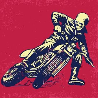 Handzeichnung des schädels ein weinlese-motorrad reitend