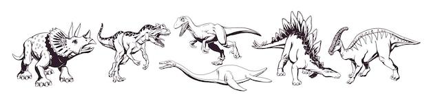 Handzeichnung einer gruppe süßer cartoon-dinosaurier zum bedrucken von t-shirts, tassen, taschen und designs. vektor-illustration.