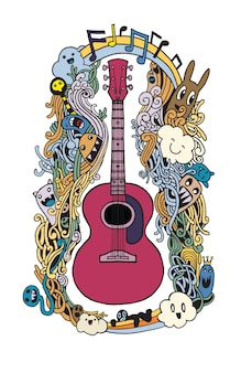 Handzeichnung gekritzelakustische gitarre, flaches design
