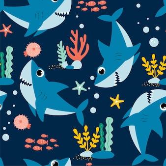 Handzeichnung hai print design vector illustration design für modestoffe textilgrafiken p