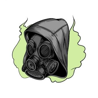 Handzeichnung illustration gasmaske