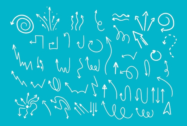 Handzeichnung im doodle-stil. pfeile in verschiedenen formen, zeiger. isolierte vektor-illustration.