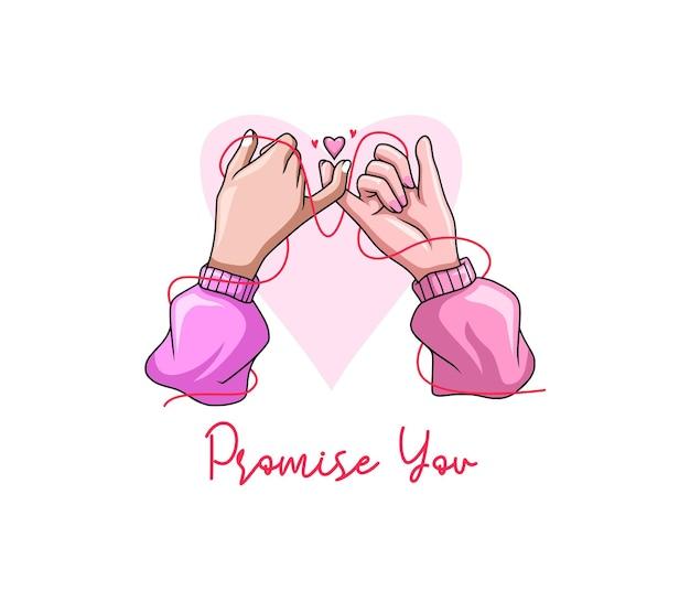 Handzeichnung mit dem versprechen des kleinen fingers