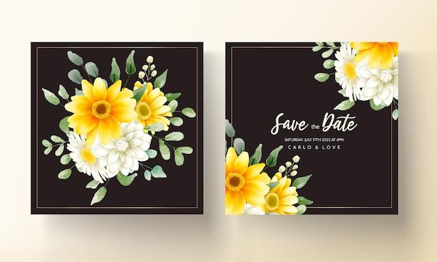 Handzeichnung schönes blumenhochzeitskarten-design