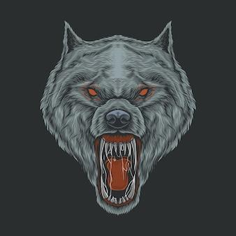 Handzeichnung vintage böse wolf illustration