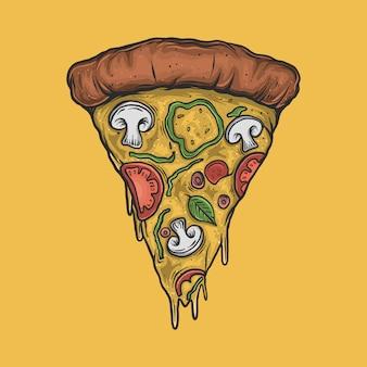 Handzeichnung vintage pizza illustration