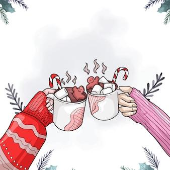 Handzeichnung von händen, die heiße schokolade am bunten weihnachtstag trinken