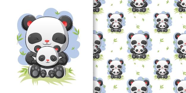 Handzeichnung von pandas, die zusammen in der bambuswaldillustration sitzen