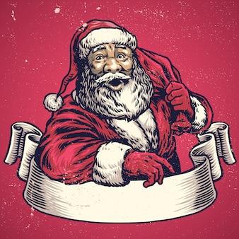 Handzeichnung von weihnachtsmann mit textplatz auf fahne