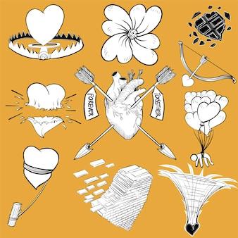 Handzeichnungs-illustrationssatz liebe