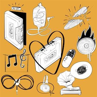 Handzeichnungs-illustrationssatz musikunterhaltung