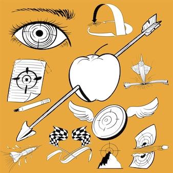 Handzeichnungs-illustrationssatz zielziele