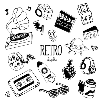 Handzeichnungsarten für retro- einzelteile. doodle 90er retro-artikel.