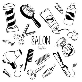 Handzeichnungsarten mit salongeschäftseinzelteilen. gekritzel-salon-shop.