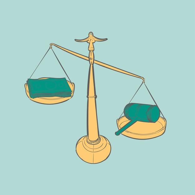 Handzeichnungsillustration des gerechtigkeitskonzeptes