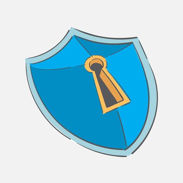 Handzeichnungsillustration des sicherheitskonzeptes