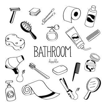 Handzeichnungsmaterial für badezimmer