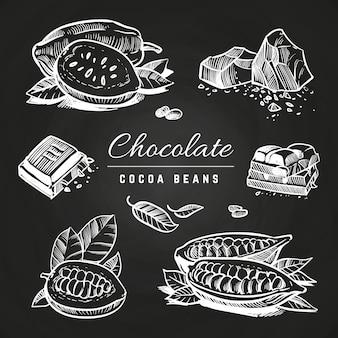 Handzeichnungsschokolade und kakaobohnen auf tafel
