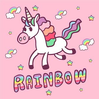 Handzeichnungsvektor unicorn