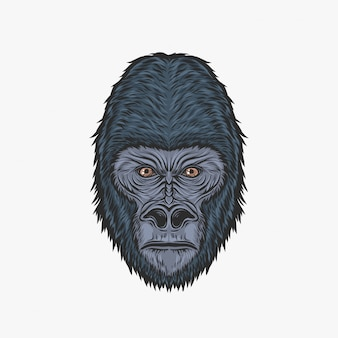 Handzeichnungsweinlese-gorillakopf-vektorillustration
