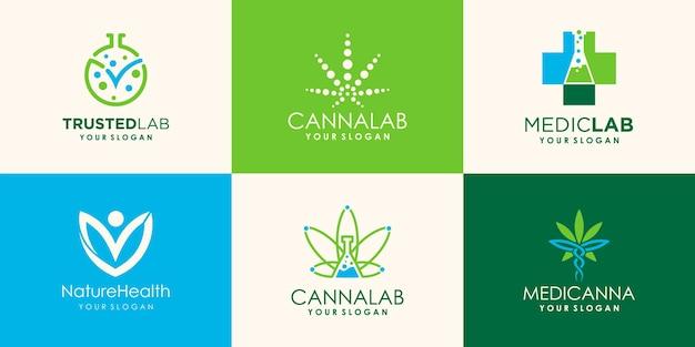 Hanf, cannabis-logo-design für labor- und medizinunternehmen