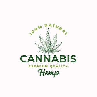 Hanf in premiumqualität. cannabis abstrakte zeichen-, symbol- oder logo-vorlage.