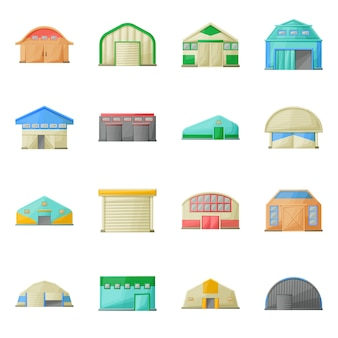 Hangar, lager des gebäudekarikatur-ikonensatzes. isolierte abbildung architektur des hangar. icon-set der fassade gebäude.