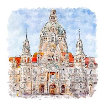 Hannover deutschland aquarell skizze hand gezeichnete illustration