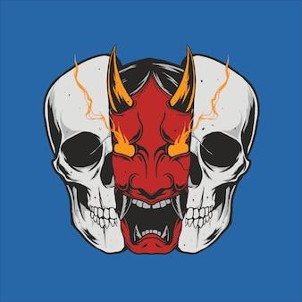 Hannya mask skull illustration design