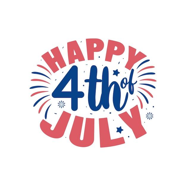 Happy 4. juli, unabhängigkeitstag schriftzug