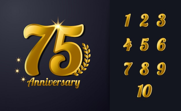 Happy 75th anniversary hintergrundvorlage. mit schwarz und gold farbe