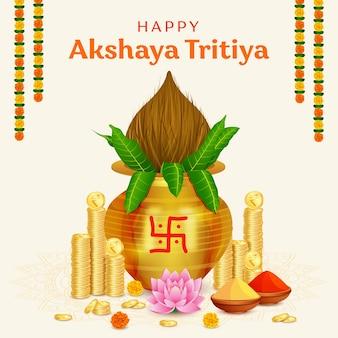Happy akshaya tritiya festival goldmünze im kalash-hintergrund
