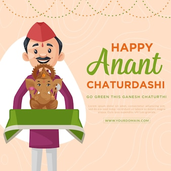 Happy anant chaturdashi indian festival banner designvorlage
