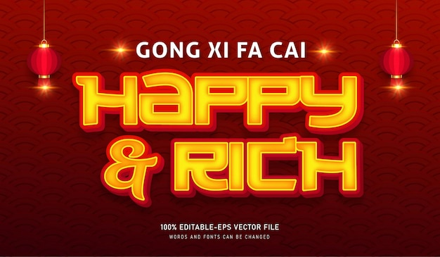 Happy and rich text effect editable font