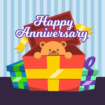 Happy aniversary box geschenk mit bärenpuppe