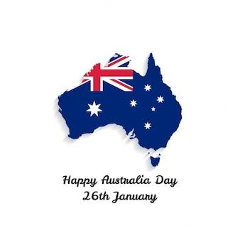 Happy australia day schatten land auf karte mit schriftzug
