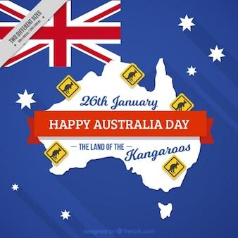 Happy australia tag hintergrund mit kängurus signale