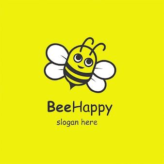 Happy bee logo konzept.