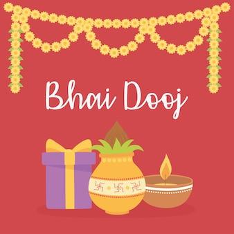 Happy bhai dooj, geschenk essen licht blumen dekoration, indische familienfeier illustration