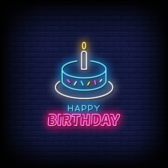 Happy birtday neon signs style text