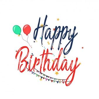 Happy birthday banner mit geschenk, kuchen, ballon, klaxon, mütze.