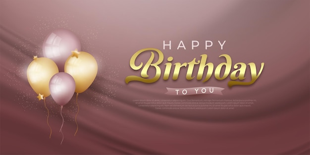 Happy birthday banner mit realistischen luftballons