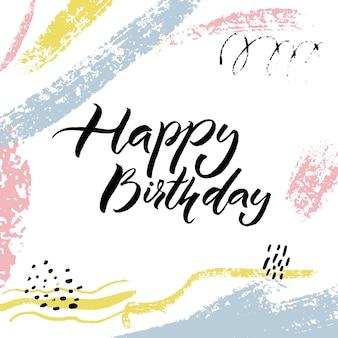 Happy birthday card design mit kalligraphie bildunterschrift auf pastellfarbenem abstraktem hintergrund.