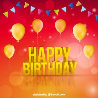 Happy birthday hintergrund mit goldenen ballons