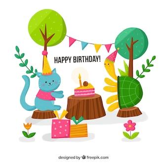 Happy birthday hintergrund mit katze und schildkröte